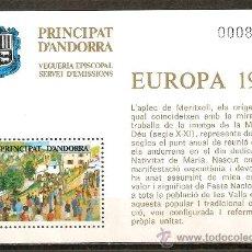 Sellos: ANDORRA VEGUERIA EPISCOPAL HOJA EUROPA 1981 NUEVA. Lote 70358871