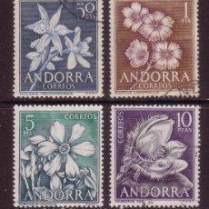 Sellos: ANDORRA 68/71 - AÑO 1966 - FLORA - FLORES DE ANDORRA. Lote 33816112