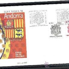 Sellos: ANDORRA ESPAÑOLA 2007. PRIMER DIA CIRCULACION. ESCUDO, SERIE BASICA. Lote 34445671