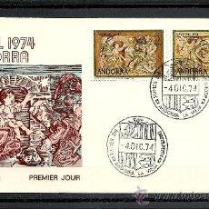 Sellos: ANDORRA 1974, EDIFIL, Nº 94/95, NAVIDAD, SOBRE PRIMER DIA . Lote 36542804