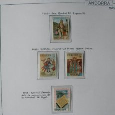 Sellos: ANDORRA ESPAÑOLA 1975 - AÑO COMPLETO 1975 - 6 SELLOS - REGALO HOJA DE 15 AGUJEROS Y FILOESTUCHES.. Lote 37412252