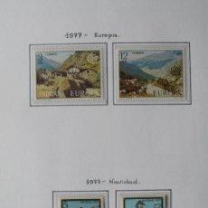 Sellos: ANDORRA ESPAÑOLA 1977 - AÑO COMPLETO 1974 - 4 SELLOS - REGALO HOJA DE 15 AGUJEROS Y FILOESTUCHES.. Lote 37412335