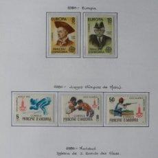 Sellos: ANDORRA ESPAÑOLA 1980 - AÑO COMPLETO 1980 - 7 SELLOS - REGALO HOJA DE 15 AGUJEROS Y FILOESTUCHES.. Lote 37412509