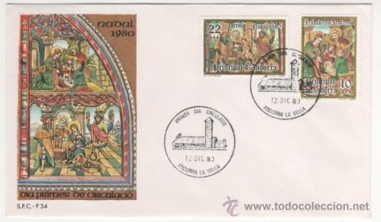 NAVIDAD. RETABLO DE LA IGLESIA DE SANT ROMAN DES VILARS.-1980 (Sellos - España - Dependencias Postales - Andorra Española)
