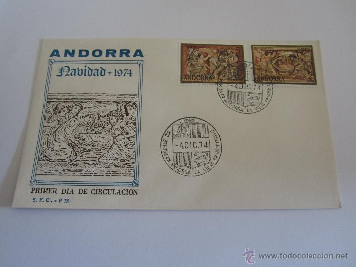 ANDORRA 1974, EDIFIL, Nº 94/95, NAVIDAD, SOBRE PRIMER DIA (Sellos - España - Dependencias Postales - Andorra Española)
