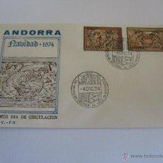 Sellos: ANDORRA 1974, EDIFIL, Nº 94/95, NAVIDAD, SOBRE PRIMER DIA. Lote 50255631
