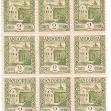 Sellos: ANDORRA ESPAÑOLA. GRAN BLOQUE DE 9 DEL VALOR 2 CTS. EDIFIL 15D. Lote 53252761