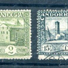 Sellos: EDIFIL 15 Y 18 DE ANDORRA. 2 Y 15 CTS DE MONUMENTOS. DENTADOS 14. MATASELLADOS. Lote 56460527