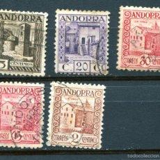 Sellos: EDIFIL 28, 29, 34, 36 Y 38 DE ANDORRA. 5 SELLOS DIFERENTES DE MONUMENTOS. MATASELLADOS. Lote 56460571