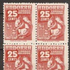 Sellos: ANDORRA CORREO ESPAÑOL EDIFIL 58** EN BLOQUE DE 4. Lote 56990995
