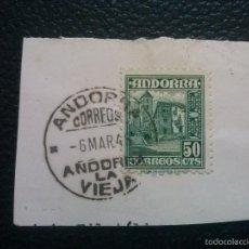 Sellos: ANDORRA ESPAÑOLA EDIFIL Nº 51 SOBRE FRAGMENTO. Lote 57539863