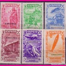 Sellos: ANDORRA BENEFICENCIA 1943 HISTORIA DEL CORREO HABILITADOS, EDIFIL Nº 1 A 6 * *. Lote 77840781