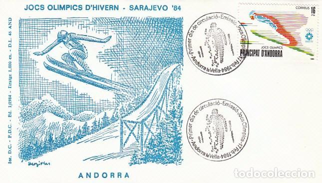 ANDORRA EDIFIL 176, JUEGOS OLIMPICOS DE SARAJEVO, PRIMER DIA DE 17-2-1984 (Sellos - España - Dependencias Postales - Andorra Española)