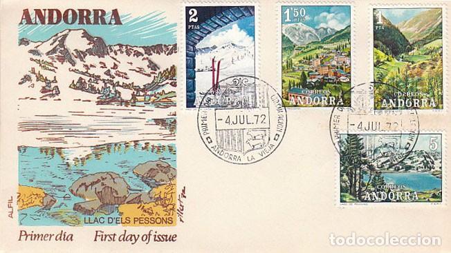 ANDORRA EDIFIL 73/6, PAISAJES, PRIMER DIA DE 4-7-1972 ALFIL (Sellos - España - Dependencias Postales - Andorra Española)
