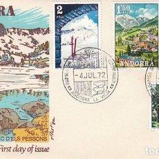 Sellos: ANDORRA EDIFIL 73/6, PAISAJES, PRIMER DIA DE 4-7-1972 ALFIL. Lote 78146637