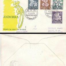 Sellos: ANDORRA EDIFIL 68/71, FLORES DEL PRINCIPADO, PRIMER DIA DE 10-6-1966 ALFIL CIRCULADO. Lote 78147173