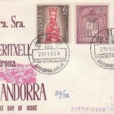 Sellos: ANDORRA EDIFIL 64/7, TIPOS DIVERSOS, PRIMER DIA DE 28-2-1964 ALFIL CIRCULADO. Lote 78147961