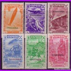 Sellos: ANDORRA BENEFICENCIA 1938 HISTORIA DEL CORREO, EDIFIL Nº 1 A 6 * * SERIE COMPLETA. Lote 87378164