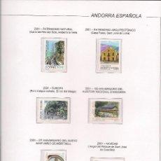 Sellos: HOJAS ANDORRA ESPAÑOLA 2001 MONTADO CON ESTUCHES TRANSPARENTES. Lote 87900420