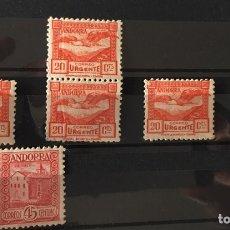 Sellos: ANDORRA 1935/43. URGENTE. 5 VALORES, 2 EN PAREJA.. Lote 94644624