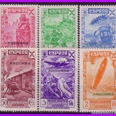 Sellos: ANDORRA BENEFICENCIA 1938 Hª CORREO, HABILITADOS, EDIFIL Nº 1 A 6 * * COMPLETA. Lote 95210311
