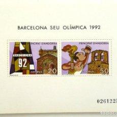 Sellos: HOJA BLOQUE ANDORRA. BARCELONA SEDE OLIMPICA 1992.. Lote 98437171