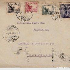 Sellos: SOBRE CON SELLOS ESPAÑOLES Y MATASELLOS ANDORRA 1946 - DORSO MATASELLOS DE FRANCO ,ARRIBA ESPAÑA. Lote 99534575