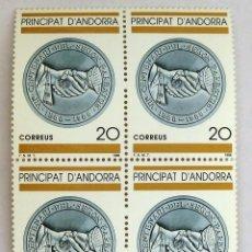 Sellos: SELLOS ANDORRA ESPAÑOLA 1988. NUEVOS. BLOQUE DE CUATRO. CENTENARIO SEGUNDO PAREATGE.. Lote 105982271