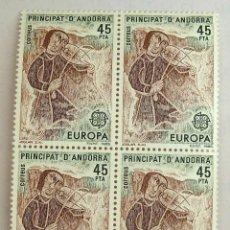 Sellos: SELLOS ANDORRA ESPAÑOLA 1985. NUEVOS. BLOQUE DE CUATRO. EUROPA.. Lote 105982675
