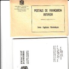 Sellos: ANDORRA 3 ESTUCHES DE POSTALES DE FRANQUICIA INTERIOR -ESGLESIES, PONTS ROMÀNICS,CASES PAIRALS. Lote 106955511
