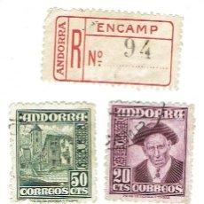 Sellos: LOTE DE 6 SELLOS 4 DE ANDORRA 2 DE ESPAÑA DEL AÑO 1949 USADOS. Lote 110064131