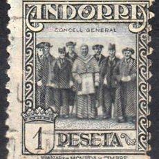 Sellos: ANDORRA - CORREO ESPAÑOL 1931 DENT. 11,5 1 PESETA USADO. Lote 112636559