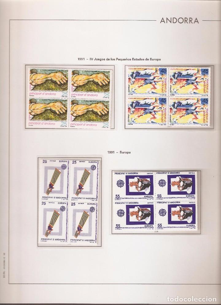 ANDORRA ESPAÑOLA AÑO 1991 COMPLETO EN BLOQUE DE 4 NUEVOS LOS DE LAS FOTOS. VER TODOS MIS SELLOS (Sellos - España - Dependencias Postales - Andorra Española)