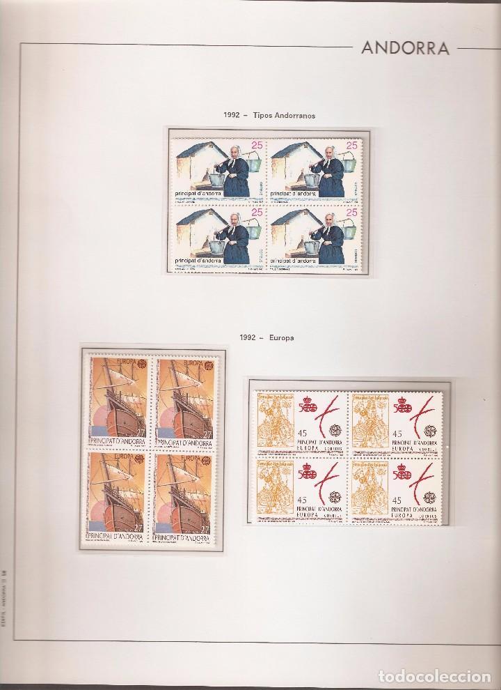ANDORRA ESPAÑOLA AÑO 1992 COMPLETO EN BLOQUE DE 4 NUEVOS LOS DE LAS FOTOS. VER TODOS MIS SELLOS (Sellos - España - Dependencias Postales - Andorra Española)