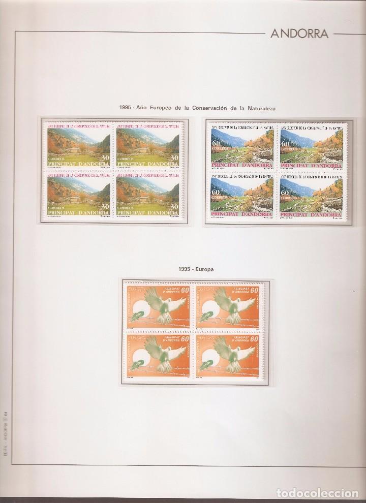 ANDORRA ESPAÑOLA AÑO 1995 COMPLETO EN BLOQUE DE 4 NUEVOS LOS DE LAS FOTOS. VER TODOS MIS SELLOS (Sellos - España - Dependencias Postales - Andorra Española)