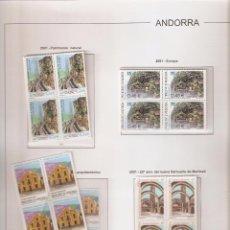 Sellos: ANDORRA ESPAÑOLA AÑO 2001 COMPLETO EN BLOQUE DE 4 NUEVOS LOS DE LAS FOTOS. VER TODOS MIS SELLOS. Lote 120515563