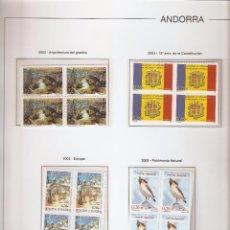 Sellos: ANDORRA ESPAÑOLA AÑO 2003 COMPLETO EN BLOQUE DE 4 NUEVOS LOS DE LAS FOTOS. VER TODOS MIS SELLOS. Lote 120517463