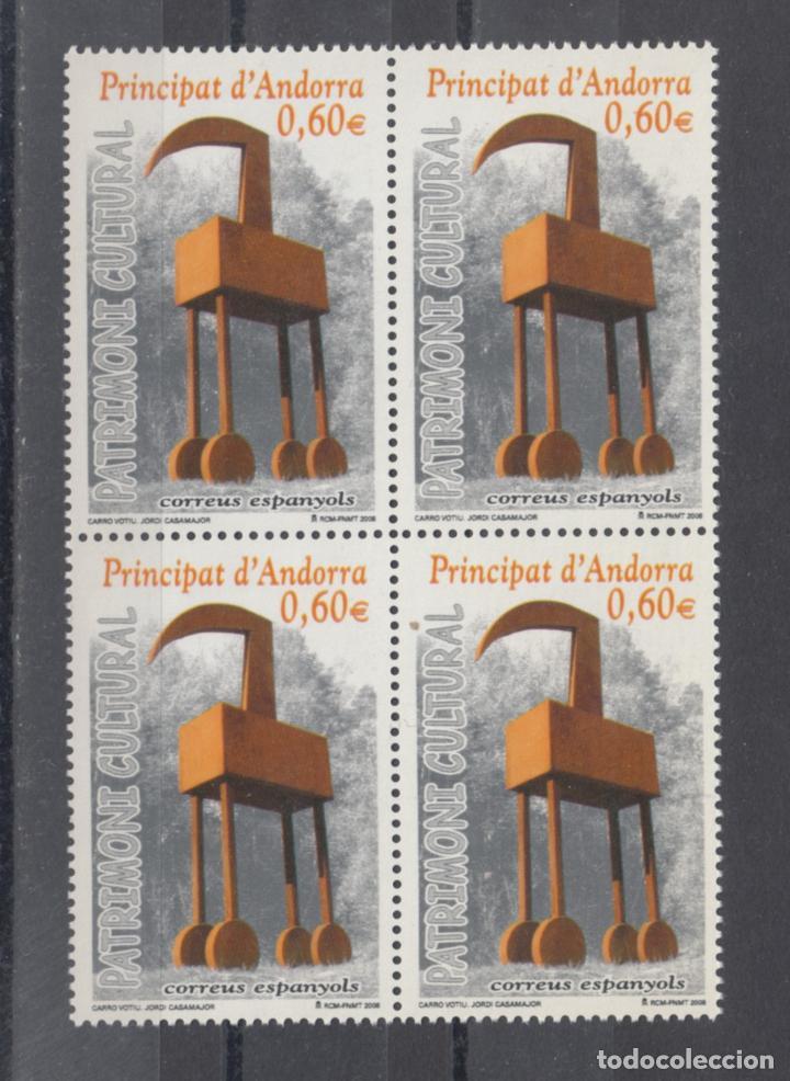 .ANDORRA ESPAÑOLA 353 EN B4 SIN CHARNELA, PATRIMONIO CULTURAL, ARTE, ESCULTURA DE JORDI CASAMAJOR, (Sellos - España - Dependencias Postales - Andorra Española)