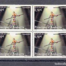 Sellos: .ANDORRA ESPAÑOLA 295 EN B4 SIN CHARNELA, TEMA EUROPA, EL CIRCO, FUNAMBULO,. Lote 120681875
