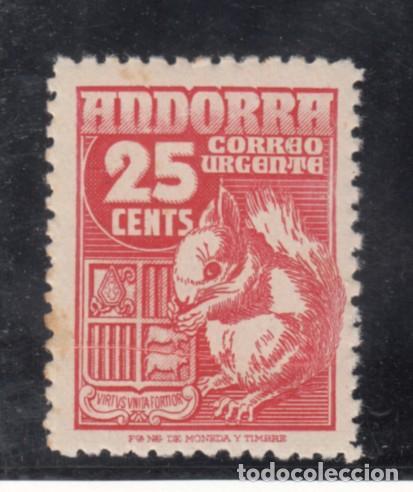 .ANDORRA ESPAÑOLA .58 VARIEDAD PLIEGUE SIN CHARNELA, FAUNA, ARDILLA, (Sellos - España - Dependencias Postales - Andorra Española)