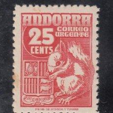 Sellos: .ANDORRA ESPAÑOLA .58 VARIEDAD PLIEGUE SIN CHARNELA, FAUNA, ARDILLA, . Lote 120819655