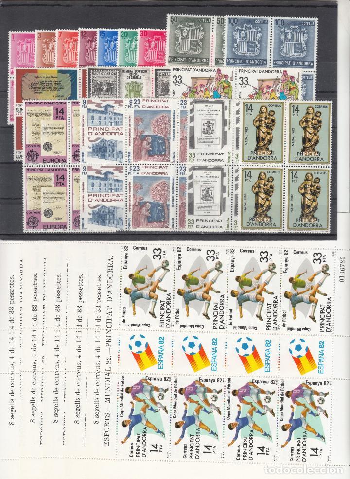 .ANDORRA ESPAÑOLA 148/67, MP1 EN B4 SIN CHARNELA, AÑO 1982 COMPLETO 19 X 4 SELLOS Y 4 MINIPLIEGOS (Sellos - España - Dependencias Postales - Andorra Española)