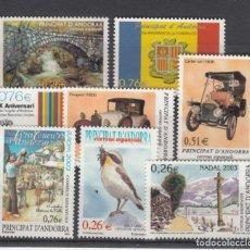 Sellos: .ANDORRA ESPAÑOLA 304/11 SIN CHARNELA, AÑO 2003 COMPLETO 8 SELLOS. Lote 121288879