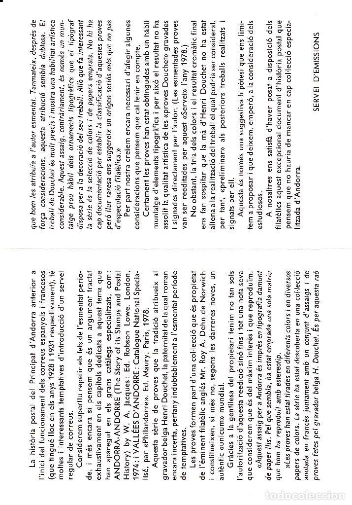 Sellos: ANDORRA .-SERVEI DEMISSIONS - VEGUERIA EPISCOPAL - 1981 -HENRI DOUCHET - NUM 19 - Foto 3 - 244553475