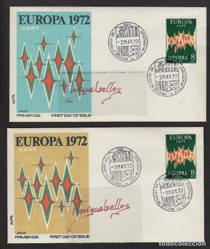 ANDORRA ESPAÑOLA - EUROPA 1972 ED Nº72 - SPD / SOBRE ( 2 ) PRIMER DIA . (Sellos - España - Dependencias Postales - Andorra Española)