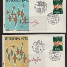Sellos: ANDORRA ESPAÑOLA - EUROPA 1972 ED Nº72 - SPD / SOBRE ( 2 ) PRIMER DIA .. Lote 139329910