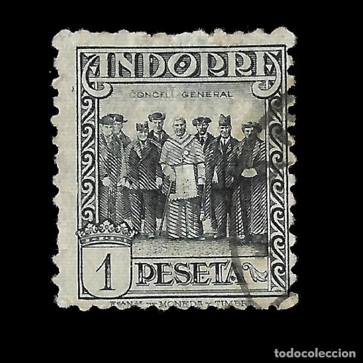 ANDORRA. CORREO ESPAÑOL. 1929.PAISAJES DE ANDORRA. 1P. PIZARRA. USADO EDIF.Nº24 (Sellos - España - Dependencias Postales - Andorra Española)