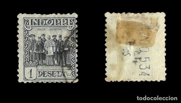 Sellos: ANDORRA. CORREO ESPAÑOL. 1929.Paisajes de Andorra. 1p. pizarra. Usado Edif.nº24 - Foto 2 - 139708446