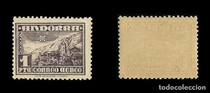 Sellos: ANDORRA. CORREO ESPAÑOL. 1948-53.Tipos diversos. 10 p.castaño lila. Nuevo**. Edif.nº57 - Foto 2 - 139741150