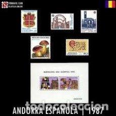 Sellos: ANDORRA ESPAÑOLA 1987. AÑO COMPLETO. 1 HOJA BLOQUE Y 5 SELLOS. SIN CHARNELA.. Lote 140559558
